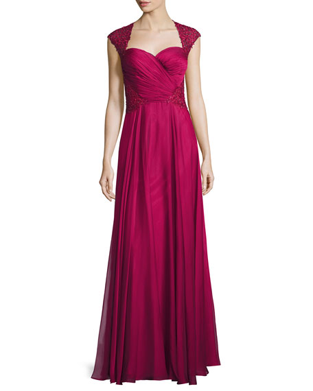La Femme Ruched-Bodice Sweetheart Gown, Cocoa