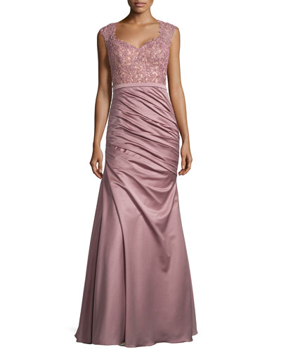Beaded Lace Combo Gown, Mauve