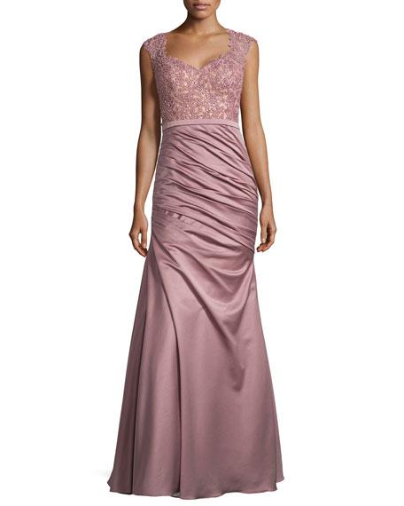 La Femme Beaded Lace Combo Gown, Mauve