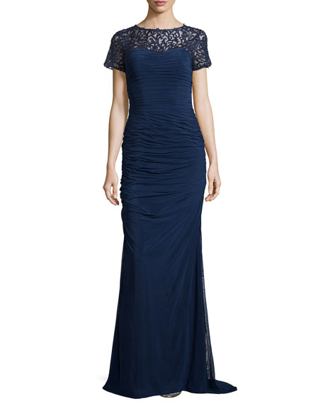 La Femme Ruched Lace-Trim Gown, Navy