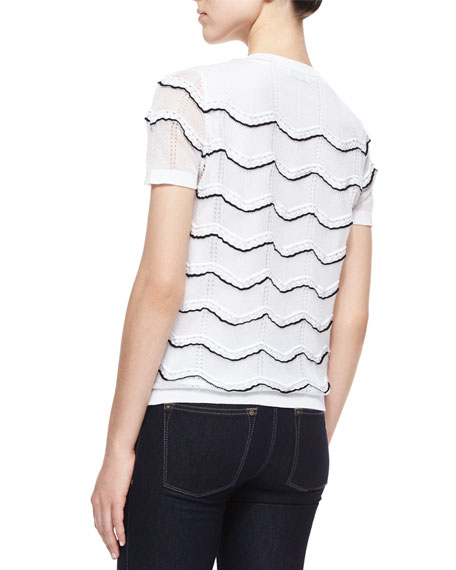 Short-Sleeve Scalloped-Trim Top
