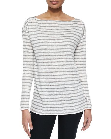 Long-Sleeve Striped Linen Tee, Gray