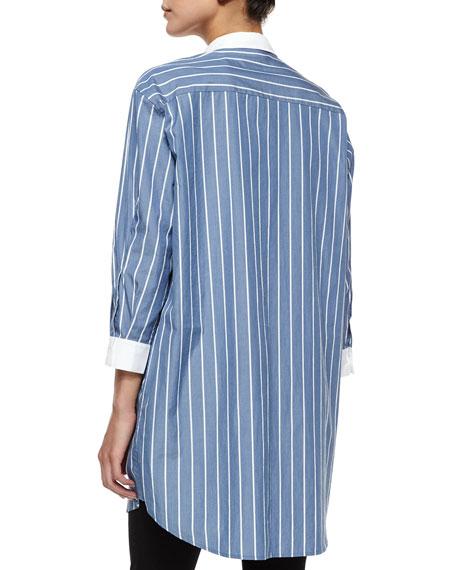 Long-Sleeve Striped Boyfriend Shirt
