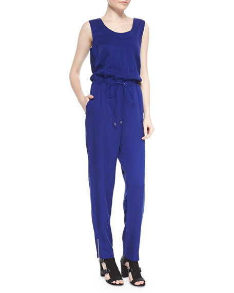 French Connection Miami Draped Charmeuse Sleeveless Jumpsuit