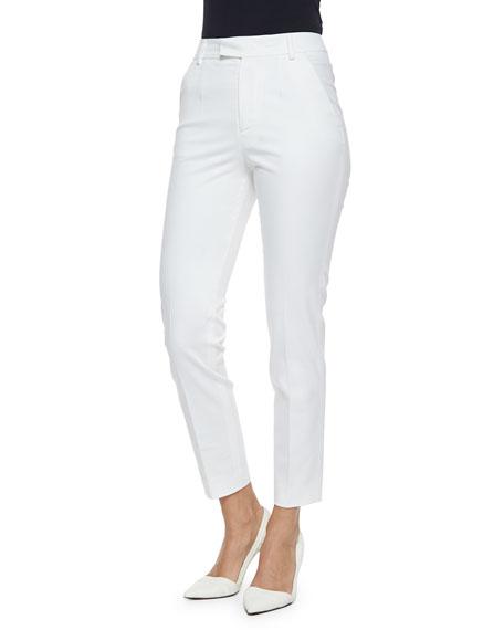Straight-Leg Gabardine Ankle Pants, White
