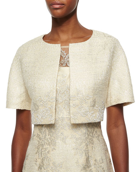 Kay Unger New York Short-Sleeve Lace Tweed Jacket