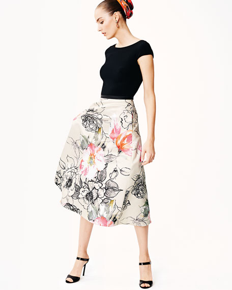 Bateau-Neck Combo Dress w/ Floral Skirt, Black/White/Guava