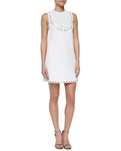 Sleeveless Pique Grommet Bib Dress
