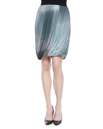 Remmi Pleated Draped Skirt, Blue/Gray