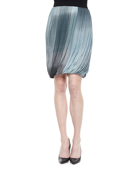 Elie Tahari Remmi Pleated Draped Skirt, Blue/Gray