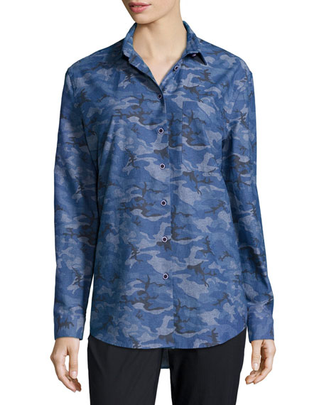 ATM Anthony Thomas Melillo Camouflage Boyfriend Shirt, Royal