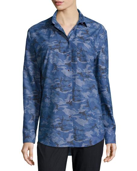 ATM Anthony Thomas Melillo Camouflage Boyfriend Shirt, Royal