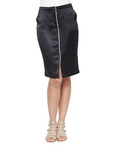 ATM Anthony Thomas Melillo Silk Pencil Skirt with Center Piping