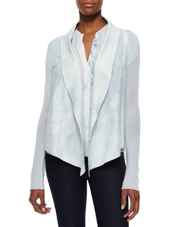 Caleigh Watercolor Suede-Front Jacket, White/Mint