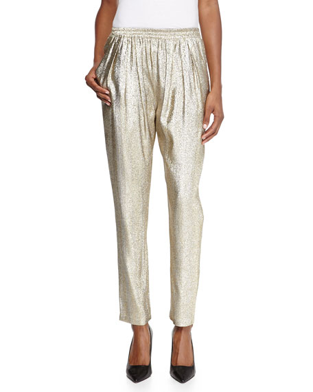 Stella McCartney Christine Pull-on Metallic Trousers, Gold