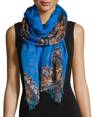 Floral-Print Scarf with Fringe Trim, Blue