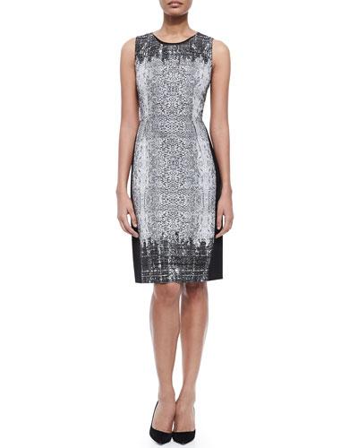 Elie Tahari Holly Sleeveless Snake-Print Sheath Dress
