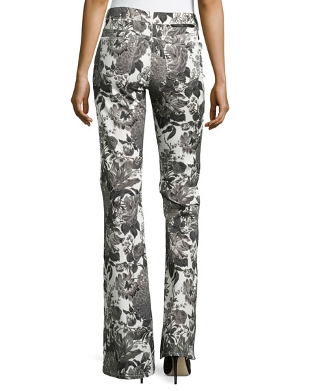 Floral-Print Flared Jeans