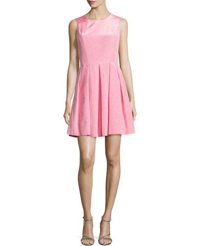 Abigail Sleeveless Pleated Dress, Rose
