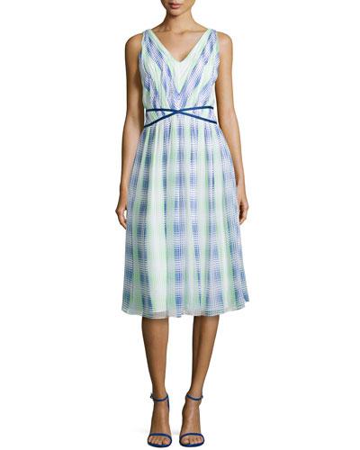 Monet Plaid Georgette Dress, Blue/Green/White