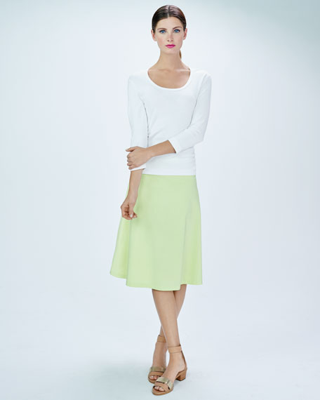 avenue montaigne woven stretch a line circle skirt