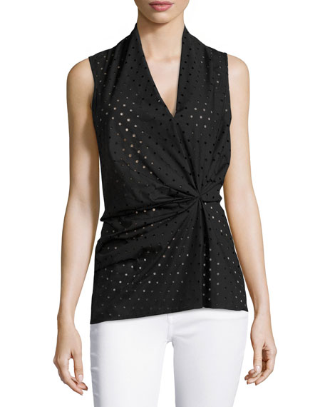 Natori Laser-Cut Sleeveless Blouse, Black