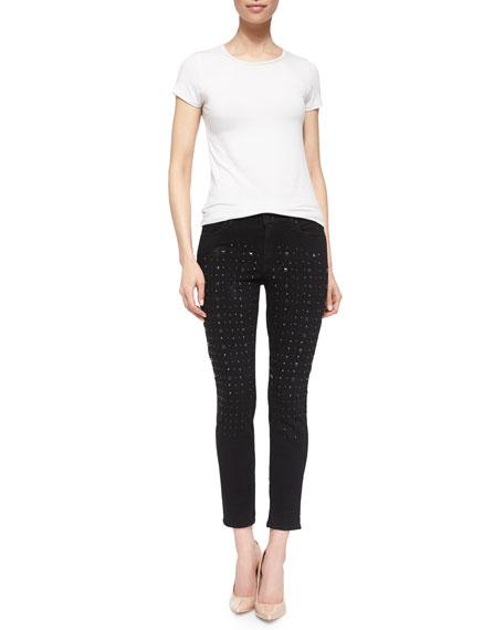 Wisdom Skinny Ankle Jeans W/ Studs