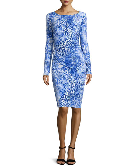 Long-Sleeve Ruched Leopard-Print Dress