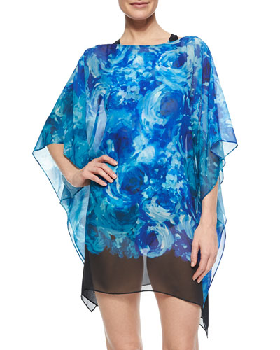 The Blooms Floral-Print Georgette Coverup