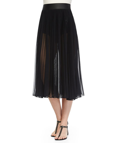 marc valvo classic pleated chiffon skirt