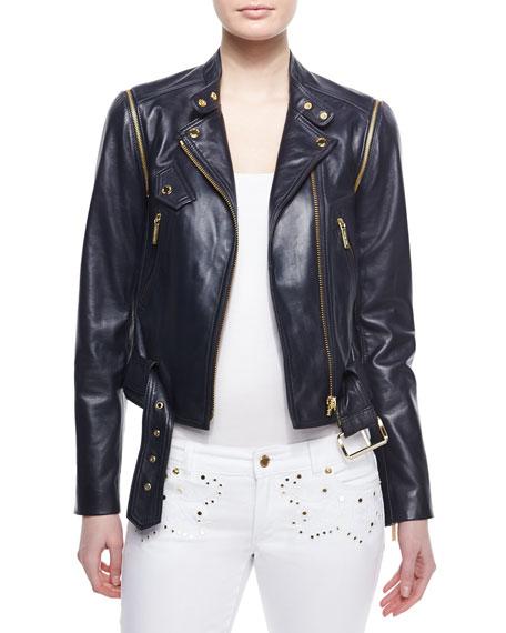 MICHAEL Michael Kors Belted Moto Leather Jacket