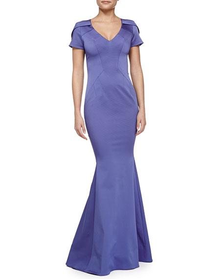ZAC Zac Posen Maira Short-Sleeve Gown with Train, Iris