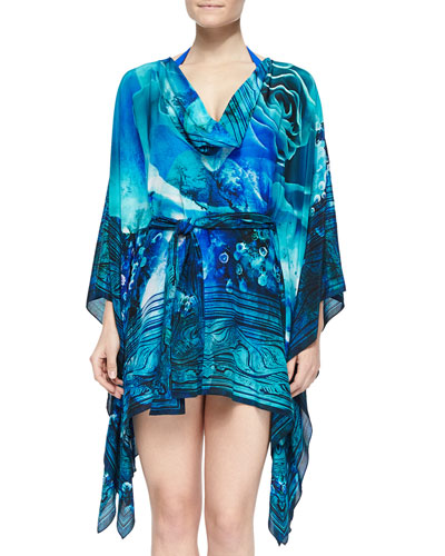 Magista Printed Tie-Waist Tunic Coverup