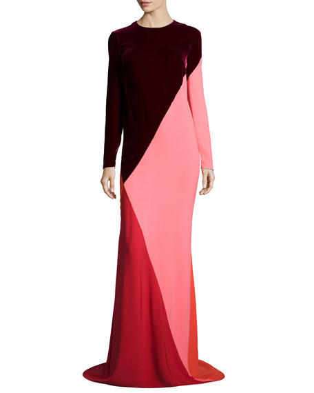 Stella McCartney Long-Sleeve Asymmetric Colorblock Gown, Red