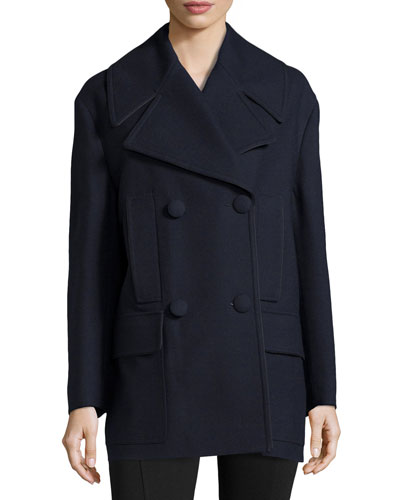 Double-Breasted Peacoat, Blue
