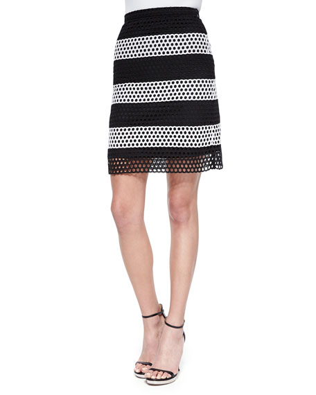 MICHAEL Michael Kors Colorblock Wide-Striped Eyelet Skirt