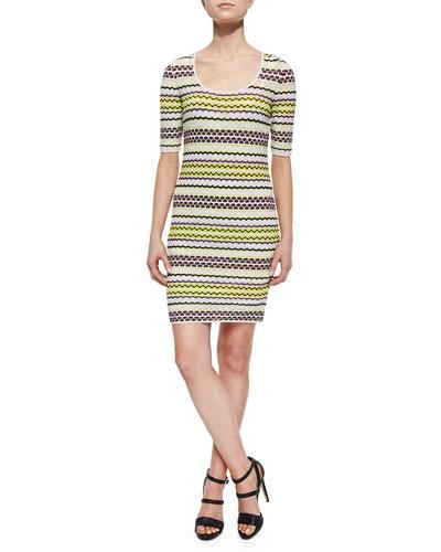Half-Sleeve Pebble-Striped Dress