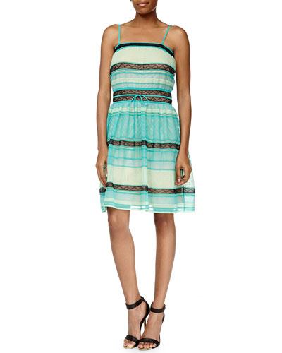 Ribbon-Stitched A-Line Tank Dress, Aqua