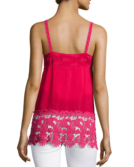 Johnny Was Collection Crochet-Trim Georgette Cami, Pink Berry