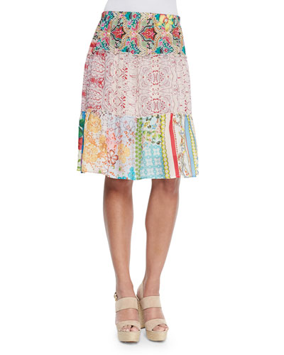 Printed 3-Tier Skirt