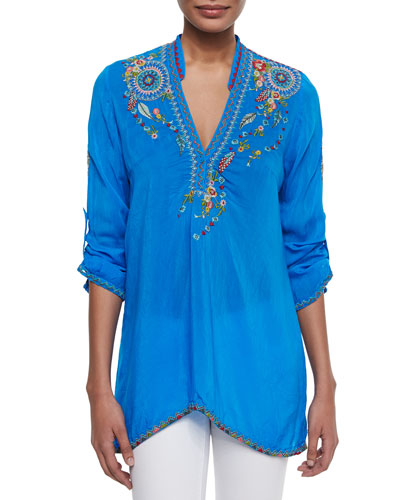 Nemo Embroidered V-Neck Tunic, Women