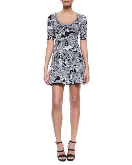 M Missoni Floral Zigzag Intarsia Dress