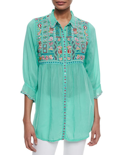 Phaloola 3/4-Sleeve Embroidered Tunic, Women's