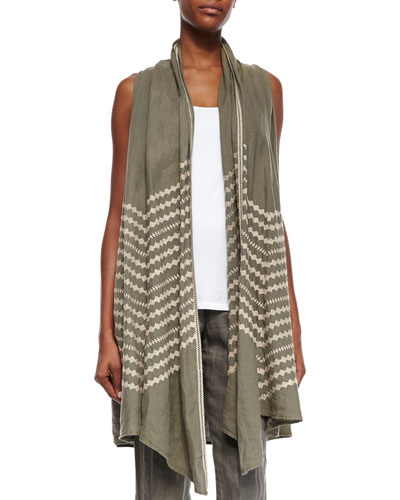 Petra Embroidered Draped Vest