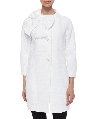 dorothy bow-front tweed coat