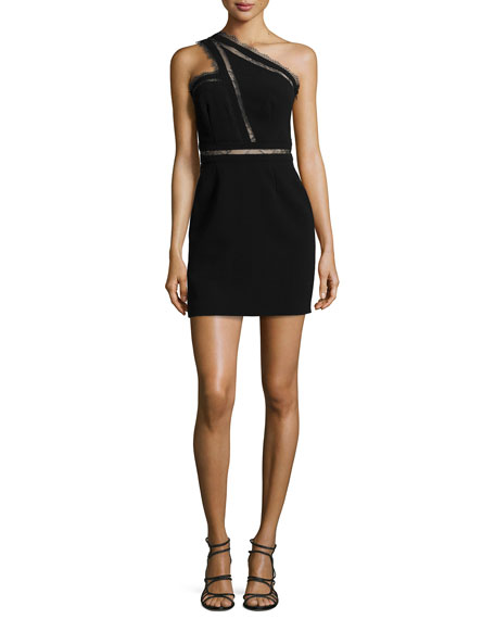Noam Hanoch Alexa Lace-Inset One-Shoulder Dress