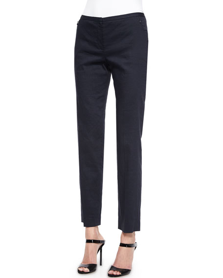 Elie Tahari Jillian Stretch Linen Pants, Navy