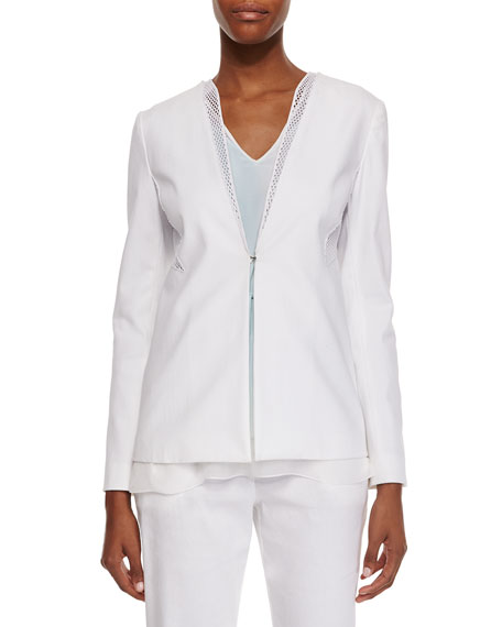 Elie Tahari Wendy Canvas Mesh-Inset Jacket