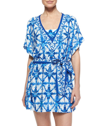 Printed Tie-Waist Jersey Coverup