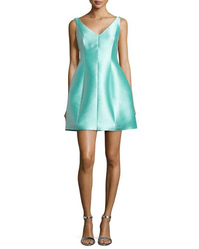 structured silk mini dress